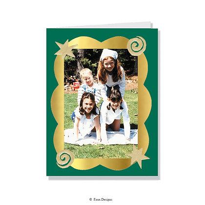 Scallops Green/Gold Photo Card