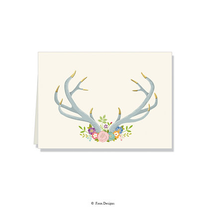 Floral Antlers Folded Note