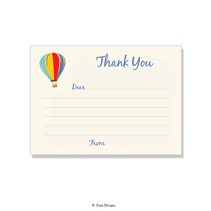 Hot Air Balloon Fill-in Thank You Note