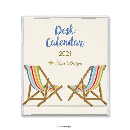 2021 Desk Calendar Beach Chairs Multi