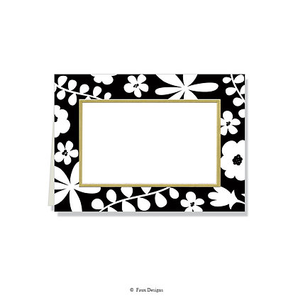 Black & White Floral Folded Note