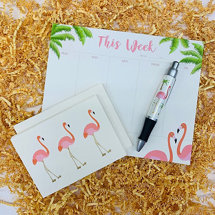 Flamingo Weekly Pad & Folded Note Set