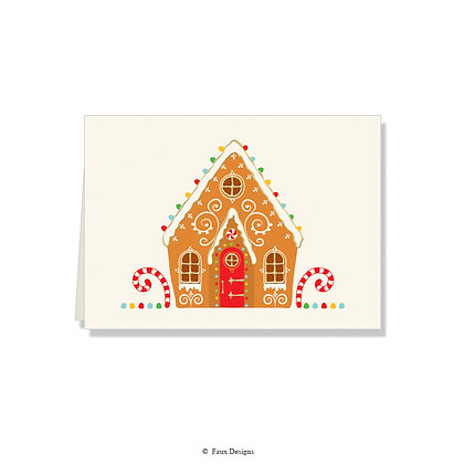Gingerbread House Folded Note