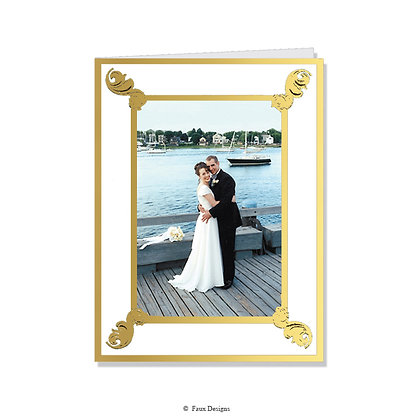 Scrolls White/Gold Photo Card      Greeted ONLY