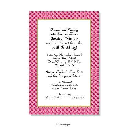Hearts Checkered Invitation - Blank