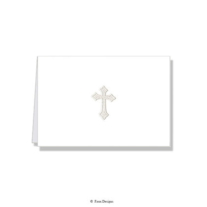 Cross Pearl on White Folded Note
