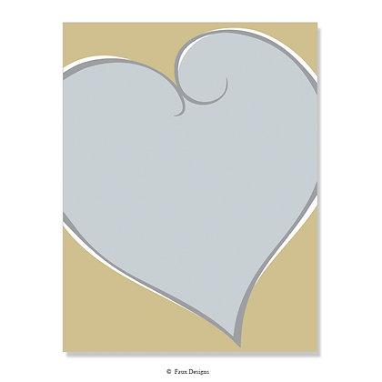 Silver Heart on Gold 8.5 x 11 Sheet