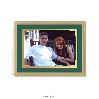 Frames Green/Gold Photo Card      Greeted ONLY