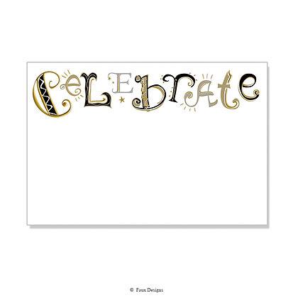Celebrate Black, Gold Invitation - Blank