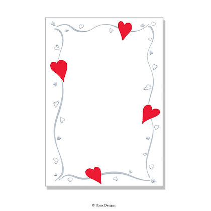 Amore Red Hearts Invitation - Blank