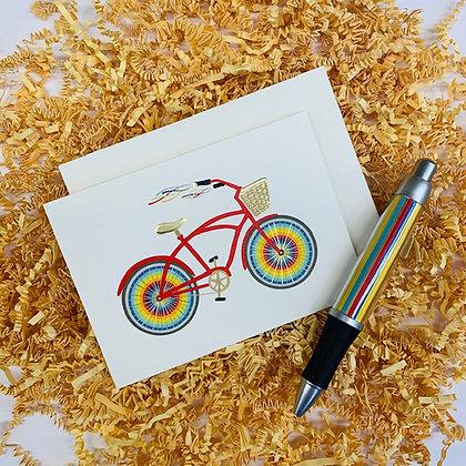 Rainbow Bicycle Folded Note & Pen Set