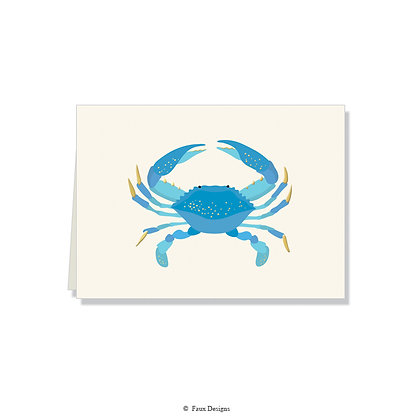 Blue Crab Folded Note