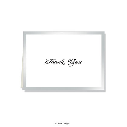 Thank You - Silver on White
