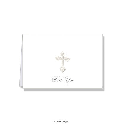 Cross Pearl on White Thank You Note