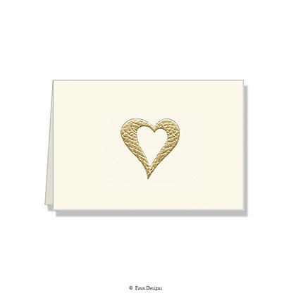 Heart Gold on Ivory Folded Note