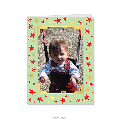 Stars Red & Gold, Green     Photo Card