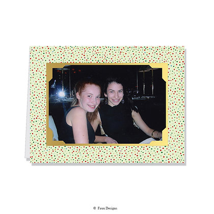 Tinsel Dots Glitter Photo Card   Blank ONLY