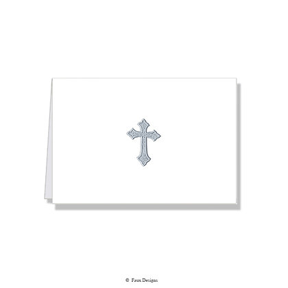 Cross Silver on White Folded Note