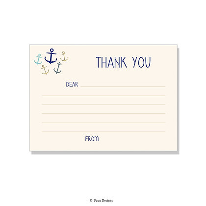 Whimsical Anchors Fill-in Thank You Note