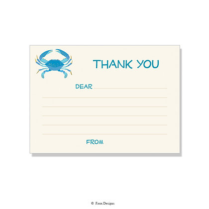 Blue Crab Fill-in Thank You Note
