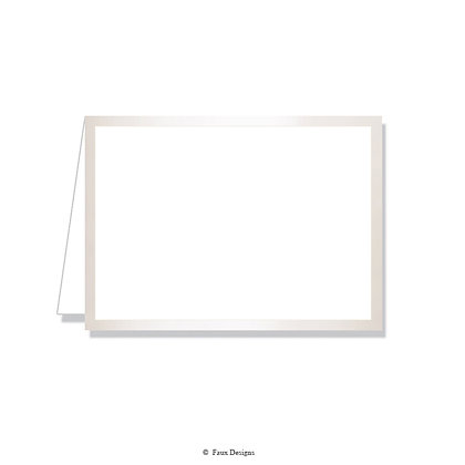 Classic Borders Pearl on White Folded Note