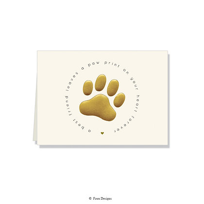Pawprint on Your Heart - Paw Print Gold on Ivory
