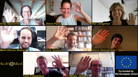 """SciFiMed consortium co-working and meetings during """"Corona times"""". It works perfectly using video conferences."""