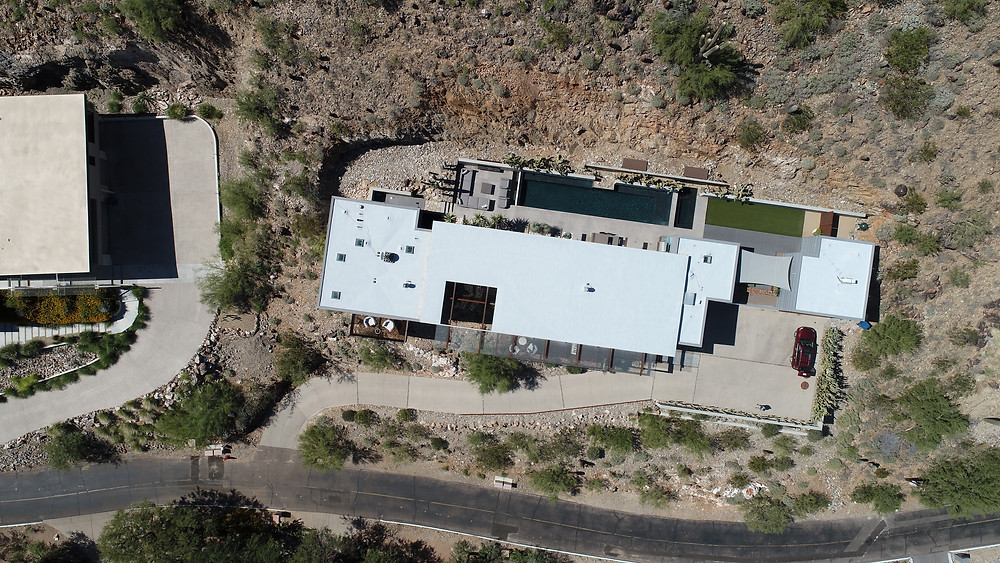 An overhead view of a Phoenix residence before the solar installation