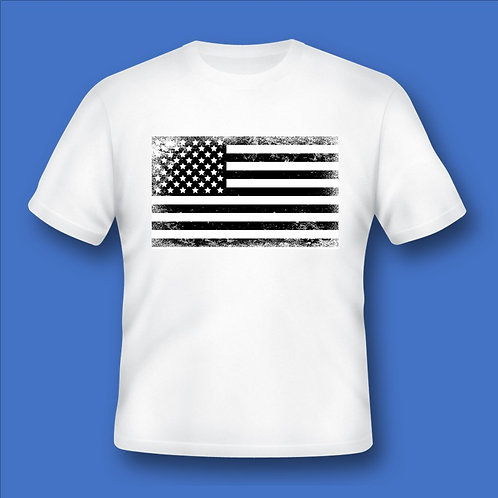 US Flag - White and Black Distressed