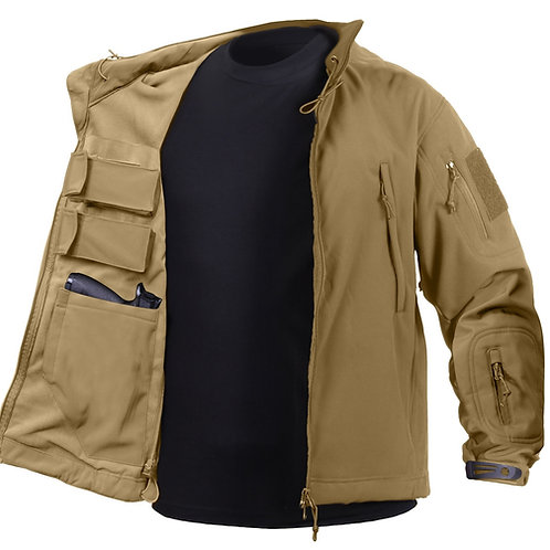 CONCEALED CARRY SOFT SHELL JACKET - COYOTE TAN