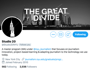 Screenshot of the Twitter handle of Studio 20, the Digital Journalism Innovation program at NYU