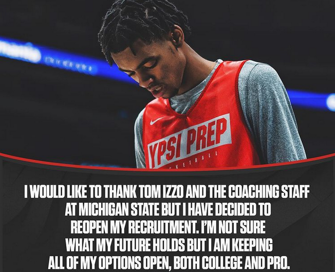Bates Decommits to Rocket Mortgage Basketball Team. MSU Fans are shocked and sad.
