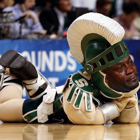 MSU Fans celebrate only losing by 10 to Purdue.