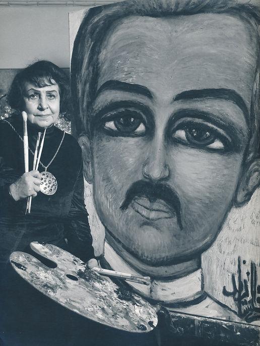 Fahrelnissa Zeid, Emir Zeid'in portresi önünde, 1968, Yahşi Baraz Arşivi.jpg
