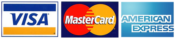 We accept Visa, Mastercard and American