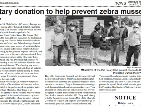 The Pas Rotary Club Donation helps to Prevent the Spread of Zebra Mussels