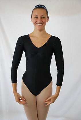 Classic Long Sleeve Ruched Front Lycra Leotard