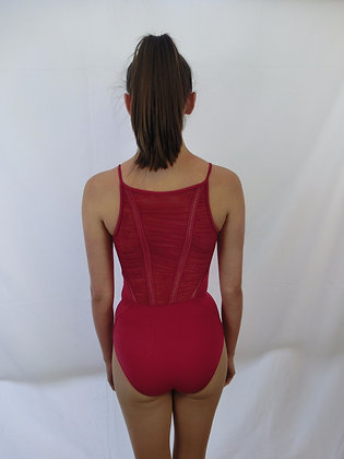 L8607 Gathered Lace Back Camisole Leotard