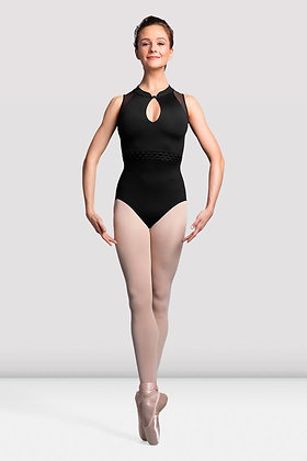 Lades Elmira High Neck Mesh Back Leotard L3125