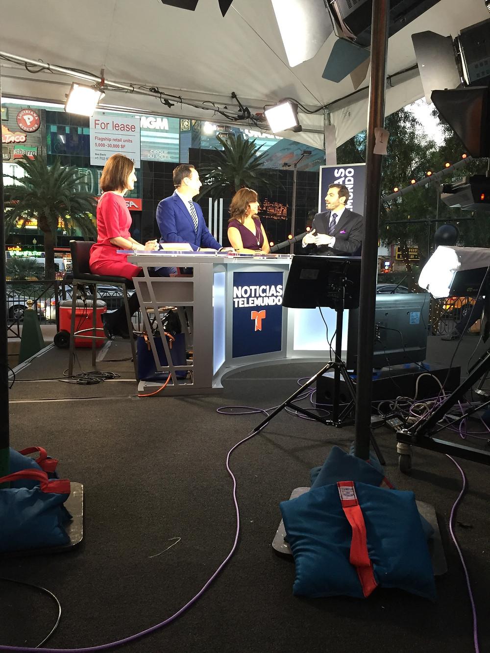 Behind the scene on set with Telemundo