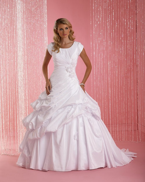 Short Sleeved Pleated Gown