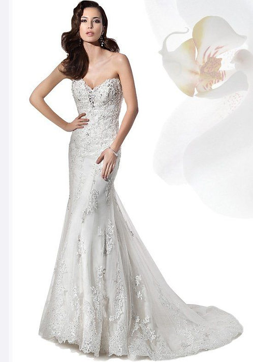 Demetrios Strapless Lace Gown