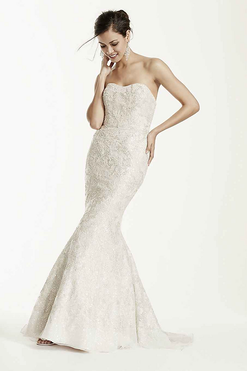 Lace Strapless Trumpet Gown