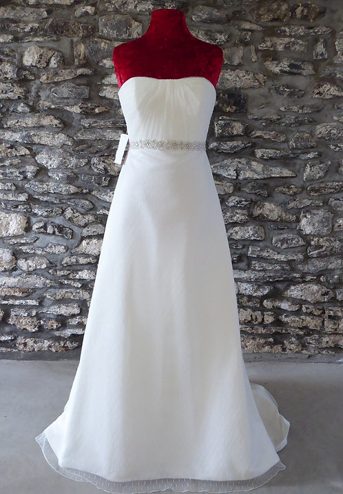 Strapless Tulle Overlay Gown