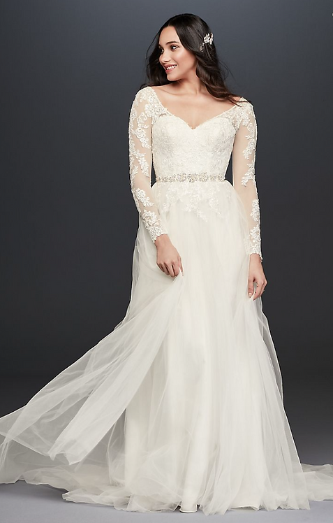 Long Sleeved A-Line Gown
