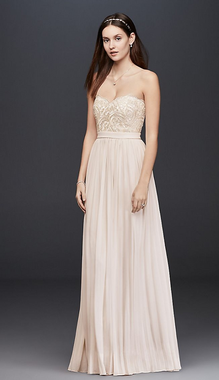 Pleated Chiffon Gown