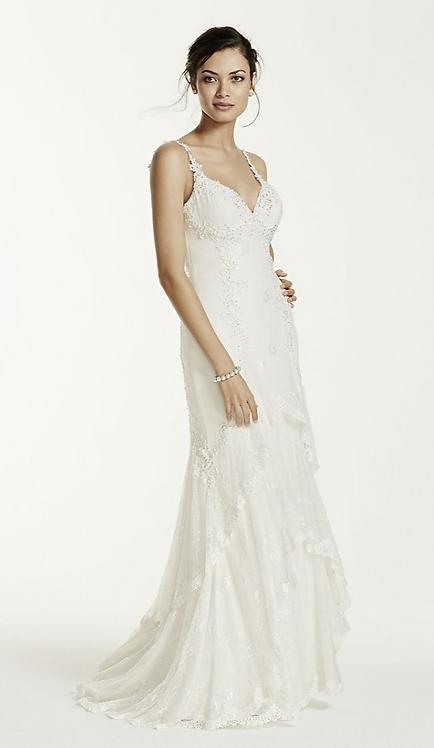 Chiffon Lace Sheath Gown
