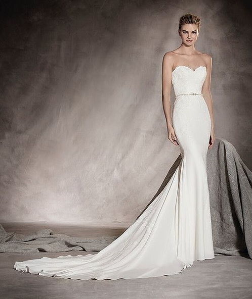 Pronovias Simple Crepe Gown