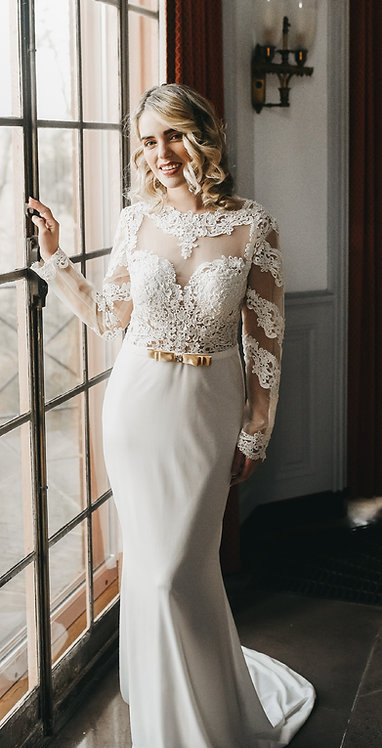 Long Sleeved Lace Gown