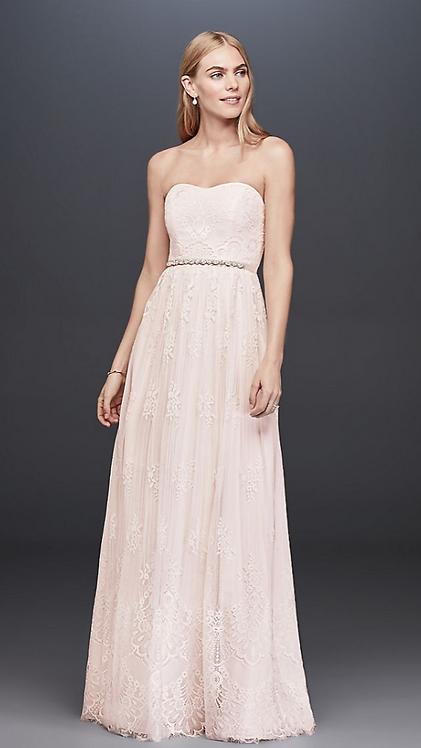 Lace Blush Sheath Gown